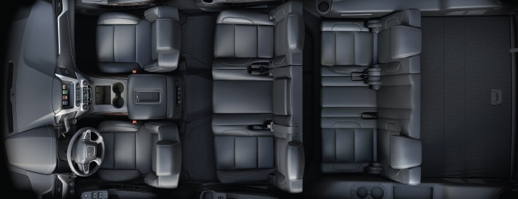 Flexible seating in the 2015 Yukon full size SUV to accommodate passengers, cargo or both
